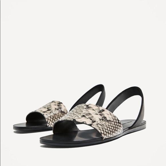 Zara Shoes | Nwt Zara Snakeskin Sling